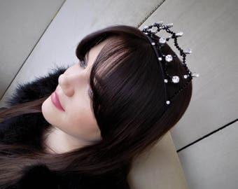 Black Swarovski & Preciosa Crystal Tiara