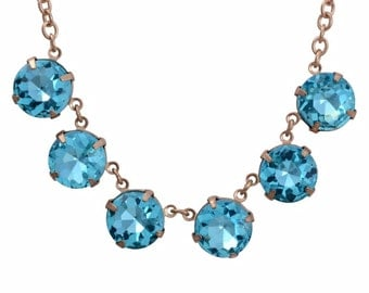 """Blue Glass Stones Dangling from Gold plated chain, 19 to 20 """""""