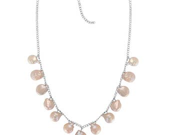 Pale Pink Freshwater Coin Pearl Necklace