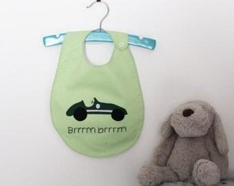 Retro Race Car Handmade Baby Bib - Green/Yellow Options
