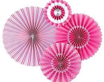 Bubblegum Pink Party Fans -Paper Rosettes -Paper Medallions -Pink Party Decor -Pinwheel Backdrop -Wall Covering -Paper fan backdrop -PLCP01
