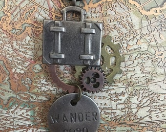 Gears and Wander Pendant Necklace
