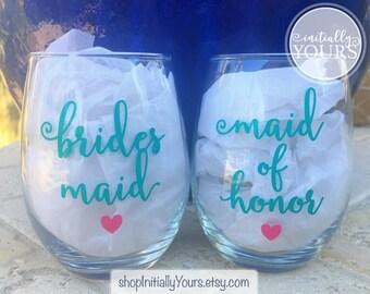 Wedding Wine Glass, Custom Bridal Party Wine Glasses, Bridal Wine Glass, Bridal Party Gifts, Custom Bridesmaid Wine Glass