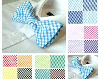 Pale blue blue gingham check bow tie 14 colours available