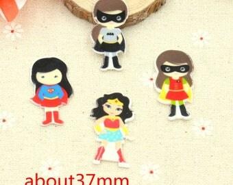 4 pcs. GIRL SUPERHEROES flatback resins Hair bow centers. Huge! Stunning!  Batgirl, Supergirl, Girl Robin, Wonderwoman