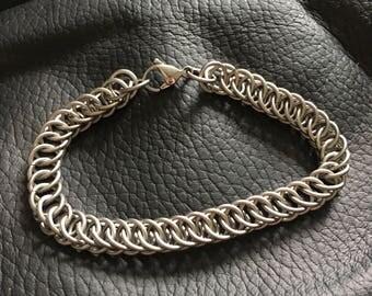 """Titanium Chainmaille Bracelet - """"Half Persian"""" Chainmail Bracelet - Slinky Titanium Bracelet"""