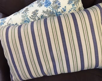Mid-weight striped cotton throw pillows in ivory, blue and green in 2 sizes