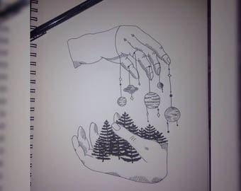 Hand Drawn Ink Drawing of Hands, Trees, Planets