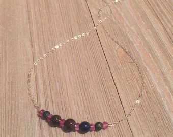 """Black ethiopian opal & pink topaz beads~16"""" sterling silver chain"""