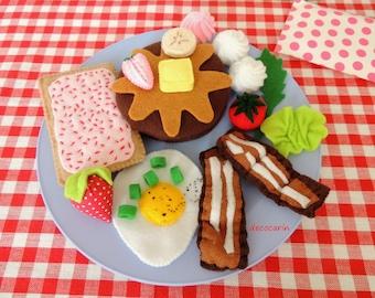Felt Food, Felt Breakfast, Felt Egg, Felt Bacon, Felt Pancakes, Felt Strawberries, children party pretend play food toy kitchen, montessori