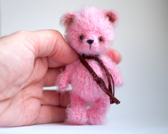 3.5 inches miniature Teddy bear, Blythe friend artist teddy bears miniature teddy bear Blythe friend toy crochet teddy bear ooak teddy bear