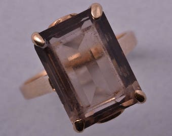 9ct Gold 1950's Ring With Smoky Quartz (932r3)