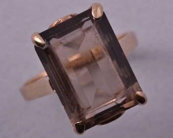 9ct Gold 1950's Retro Ring With Smoky Quartz (932r3)