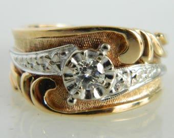 Two Tone 14K Gold Diamond Ring size 5.25