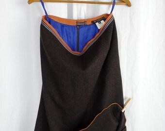 vintage ETRO nubby brown wool fishtail hem skirt/ribbon waistband+ serged orange hem/cobalt blue lining: size 46- fits US 10-12