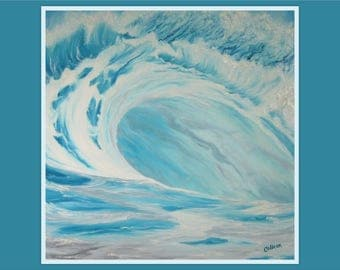 "Original 18x18"" Oil Painting - Big Light Blue Wave Surfing Wall Art"