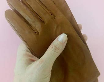 Vintage leather gloves driving gloves lambskin caramel brown 6 1/2