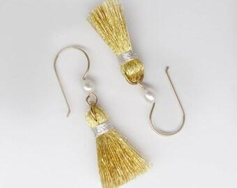 gold tassel earrings, gold silver tassel earrings, pearl tassel earrings, gold silk tassle earrings, metallic tassel earrings, silver tassel