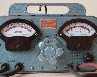 """Working  SUN MODEL """"Y""""  early 1950s Car Auto Battery Starter Tester ~ Volt Amp Meter Sign Display"""
