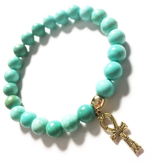 Classic Turquoise Beaded Bracelet 8mm, Choose Your Charm, Custom, Gold Plated, Yoga, Meditation, Mala, Gemstone, Natural
