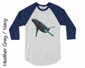 Whale Raglan Baseball Jersey Unisex Raglan Shirt Mens Clothing Womens Clothing Whale Tshirt Cotton Tshirt Whale Baseball t-shirt