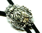 Cthulhu Lord of the oceans Steampunk fashion Bolo Tie, silver octopus, unusual clockwork, black caproic cord, pendants, mens jewellery gift