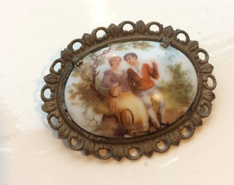 1950's Hand Painted Ceramic Brooch
