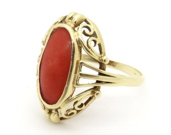 Antique 14K Gold & Natural Red Coral Ring - Size 6.75 (17.2 mm) - Edwardian Jewelry - Antique / Vintage Coral Ring
