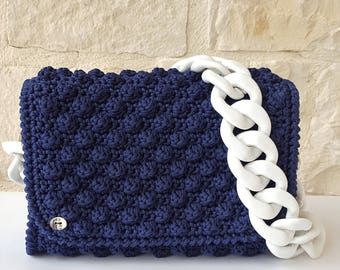 Blue lanyard/pouch/bag/gift//woman/woman//Pochette ceremony/////handmade crochet bag Made in Italy