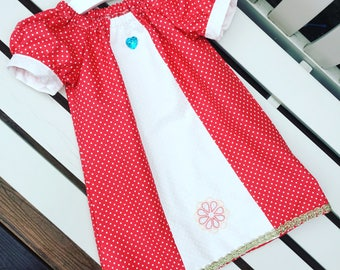 MOANA Disney peasant dress in cotton fabric with puffed cuff sleeves age 12 mths to 5/6