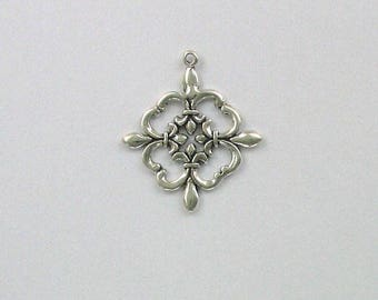 Sterling Silver 3D 4 Directions Charm