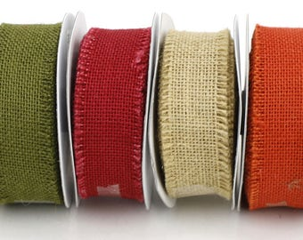 "1.5"" by 10 yards burlap fringe edge ribbon. Many colors available (RBF15-xx)"