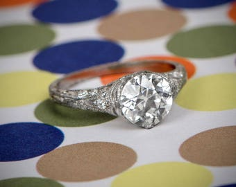 1.62ct old European cut - Vintage Inspired Filigree Platinum Ring