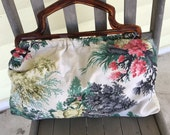 Vintage 1950s Barkcloth Sewing Bag with Plastic Handle/Outdoor Scene Trees Flowers Statues/Knitting/Crafting/Lined/Roomy