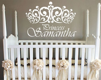 princess wall decal crown Wall Decal Vinyl Sticker Decals girls room Design  name Princess Decal nursery decor personalized decal shabby chic