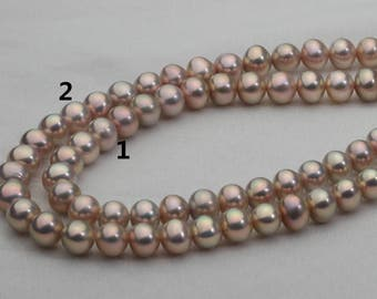 6.5-7.5mm Metallic Golden Cultured Pearl Strand,Natural Golden and Green Tone,GP001