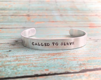 Customizable LDS Cuff Bracelet, Hand Stamped Mormon Jewelry, Missionary Bracelet,  Choose The Right, Called To Serve, Missionary Gift