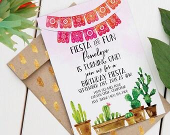 Fiesta Birthday Invitation | Editable Printable Invitation | Custom Birthday Invite | Fiesta and Fun | Fiesta Theme | Cactus Invitation