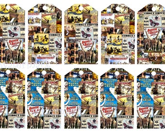 Vintage Circus posters Ringling Brothers Buffalo Bill Barnum Bailey Adam ForePaugh collage gift tags 10 per a4 page download print jpg 75p