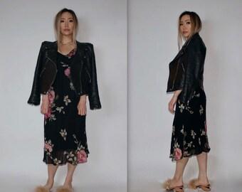 "1990's Vintage ""Paradise East"" Long Garden Party Black Pink Floral Maxi Dress V Neck With Flow Cap Boho Sleeves Size M"