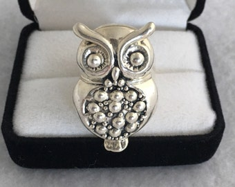 Rare Puffy Owl 925 Sterling Silver Mexico Made Full Figural Unique Ring