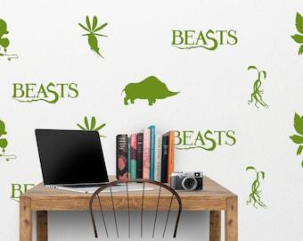 Fantastic Beasts Wall Decal - Niffler, Thunderbird, Bowtruckle, Erumpent, Billywig - Harry Potter Art Wall Decal