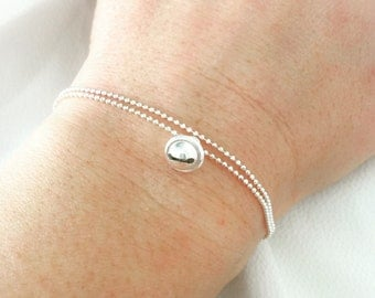 925 silver bracelet with bell ring pendant