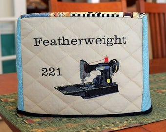 Singer Featherweight 221 Machine Cover - Vintage Sewing Notion Style Fabric with Blue Accent