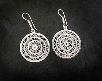 Intricate delicate handmade circular 950 sterling silver filigree long earrings, bridal