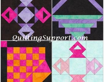 Basket Blocks 15 Inch Block Set of 4 Paper Piece Template Quilting Block Patterns Set 3 PDF