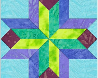 EQ Stars and Beams Variation 15 Inch Paper Template Quilting Block Pattern PDF