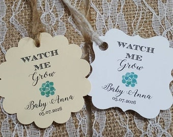 """Personalized Favor Tags, 2""""or 2x2"""", Wedding tags, Thank You tags, Favor tags, Gift tags, baby Shower, let love grow, watch me grow"""