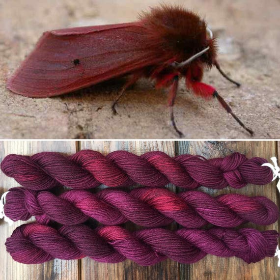 Ruby Tiger Moth 20g, merino nylon blend indie dyed sock yarn
