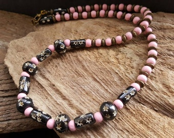 SALE Pink Wooden Beaded Necklace, African Bead Necklace, Bronze Boho Hippy